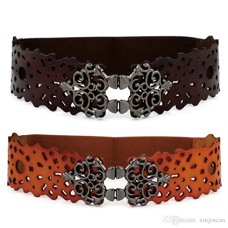 Compre 200 Unids   Lote Cinturón De Cuero Genuino Para Las Mujeres  Cinturones Elásticos Anchos Elásticos Vintage Cinturón Hebilla De Metal  Ceinture Femme A ... f3e5e593d238
