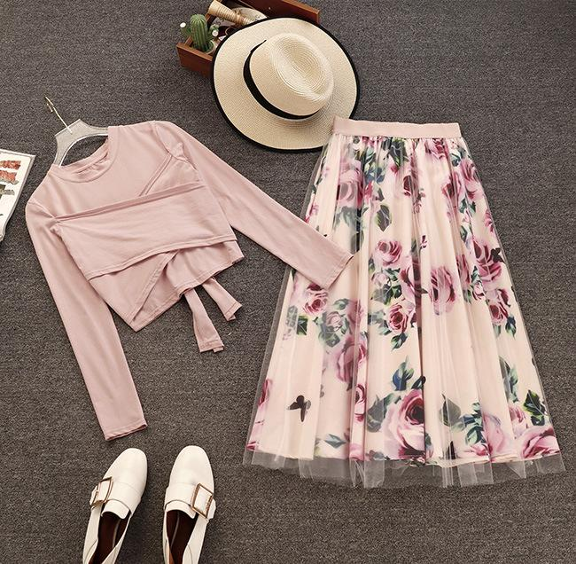 32dd1b15d1e5 Amolapha Women Long Sleeve T Shirt Tops+Mesh Floral Printed Skirts Sets  Short Style Solid T-shirts Elegant Skirt Suits for Woman