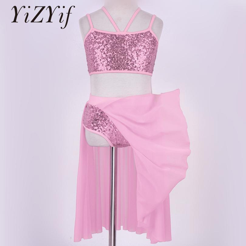 f0b9a277fc619 Acheter YiZYiF Filles Sequins Ballet Dress Robe De Danse Latine Outfit  Spaghetti Bretelles Bretelles Crop Top Tulle Jupe Ballet Danse De  20.89 Du  Layette66 ...