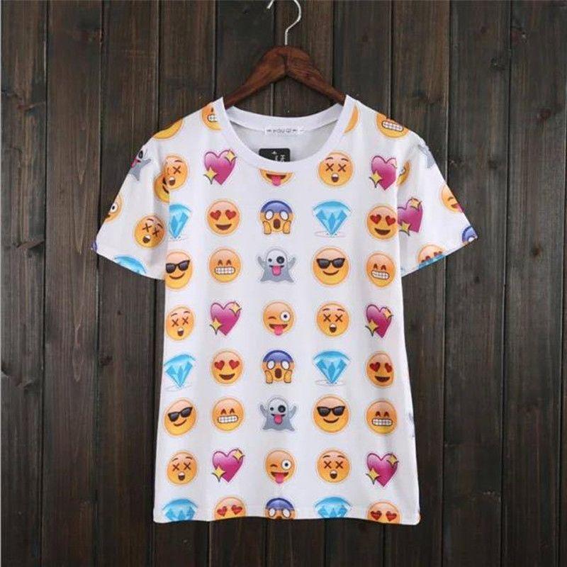 f67c8b1eec61b Hot Fashion Emoji T Shirt Hot Style Emoticons Tshirt Wholesalessummer Funny  Clothes Unisex Women Men Top Tees T Shirt Clothing Fun T Shirts Online  Tshirt ...