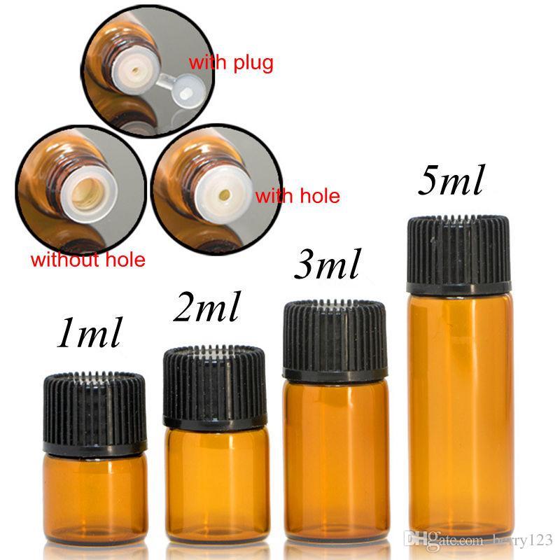 100 unids / lote 1 ml 2 ml 3 ml botella de vidrio ámbar 5 ml con tapa de plástico Insertar aceites esenciales frascos de vidrio botella de prueba de muestra de perfume