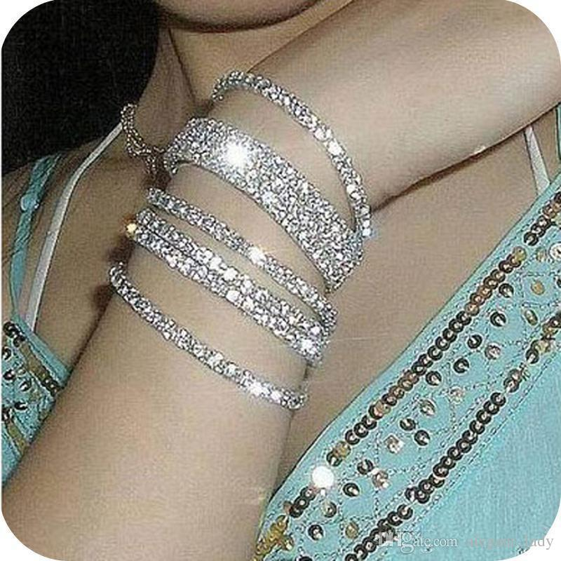 Cheap Sliver Plated Crystal Bangle Bridal Bracelets Elastic 1 Row Party Jewelry 2017 Bridal Accessories for Women