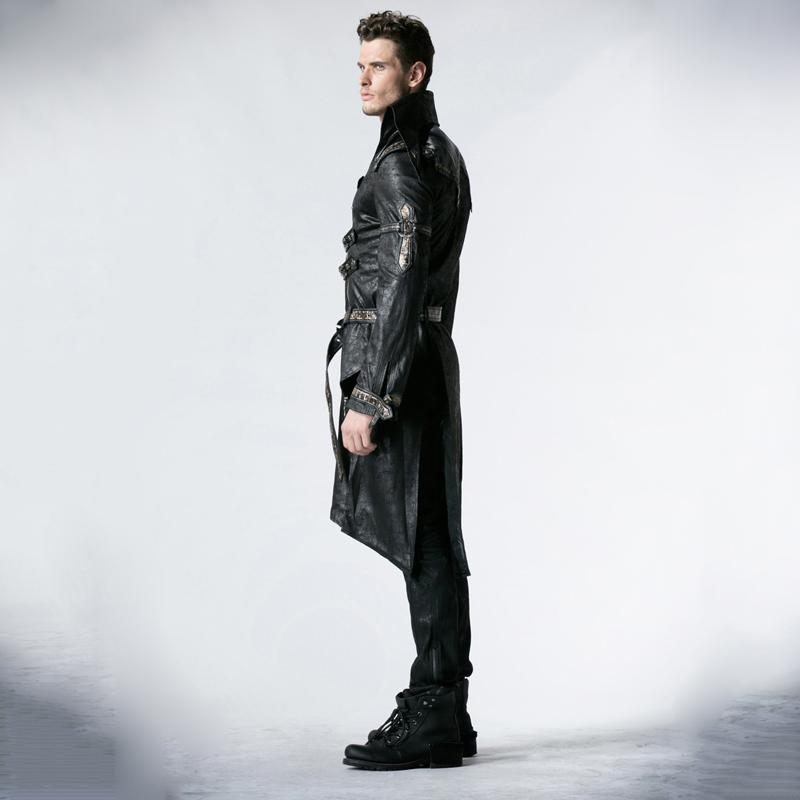 Heavy Punk Men's Faux Leather Handsome Long Jackets Steampunk Autumn Winter High Collar Thick Coats with Belt Buckles