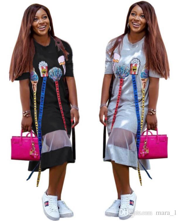66b168db8 Vestido largo de Midi de las mujeres del verano Imprimir lentejuelas Club  de moda Sexy falda letra cuello redondo manga corta longitud-falda color ...