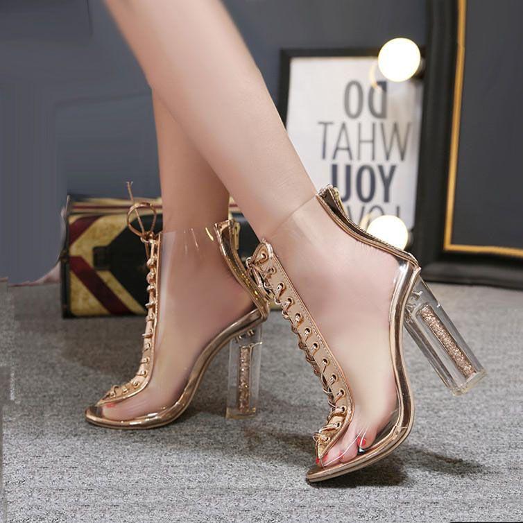 4aa8682d81d Compre Champagne Oro PVC Transparente Grueso Tacones Altos Peep Toe Lace Up  Tobillo Bootie Zapatos De Diseño Talla 35 A 39 A  30.66 Del Colorful12345  ...