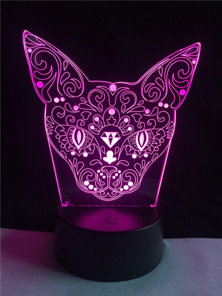 Lights & Lighting Nice Cat Face Table Lamp 7 Colors Changing Desk Lamp 3d Lamp Novelty Led Night Lights Led Light Dropship