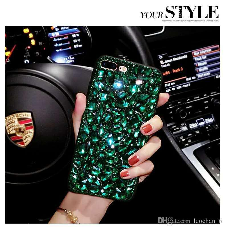 Full Shinning Rhinestone Handwork Shell Sparkle Handmade Real Diamond Back Cover Protector Glitter Jewelry Phone Case for iPhone X 6 7 Plus