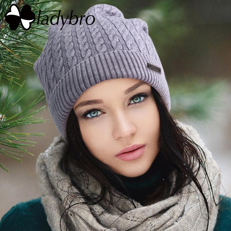 9c0991c98b3 Ladybro Beanie Hat Women Autumn Winter Hat Cap Warm Skullies Cap Female Ski  Gorros Cap Striped Bonnet Femme Knitted Hat Feminino D18110102 Cap Hat Cute  ...