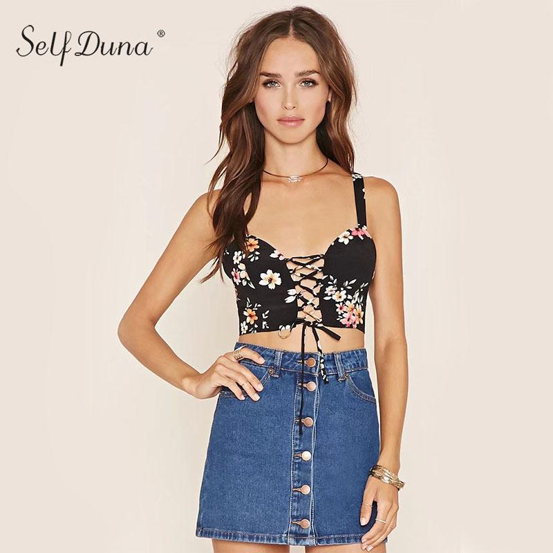 d1f70672033 2019 Wholesale 2017 Summer Women Floral Lace Up Camis Off Shoulder Vintage  Flower Print Zipper Beach Sexy Camisole Tank Crop Top From Wangleme0, ...
