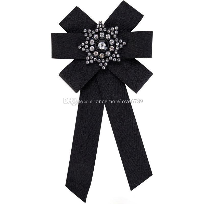 Pin Brooch Women 2018 new design Silk ribbon canvas Crystal Mosaic jewelry Manual Bow Brooch Clothing Accessories wholesale