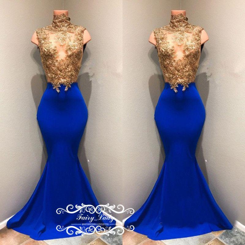 Eleganti appliques oro perline Prom Dresses le donne 2018 Sheer pizzo illusione corsetto Royal Blue abito da sera lungo abito formale