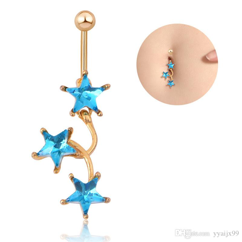 Newest Body Jewelry Star Navel Rings Belly Button With Rhinestone Stainless Steel Belly Bar Ring Navel Piercing Dangle