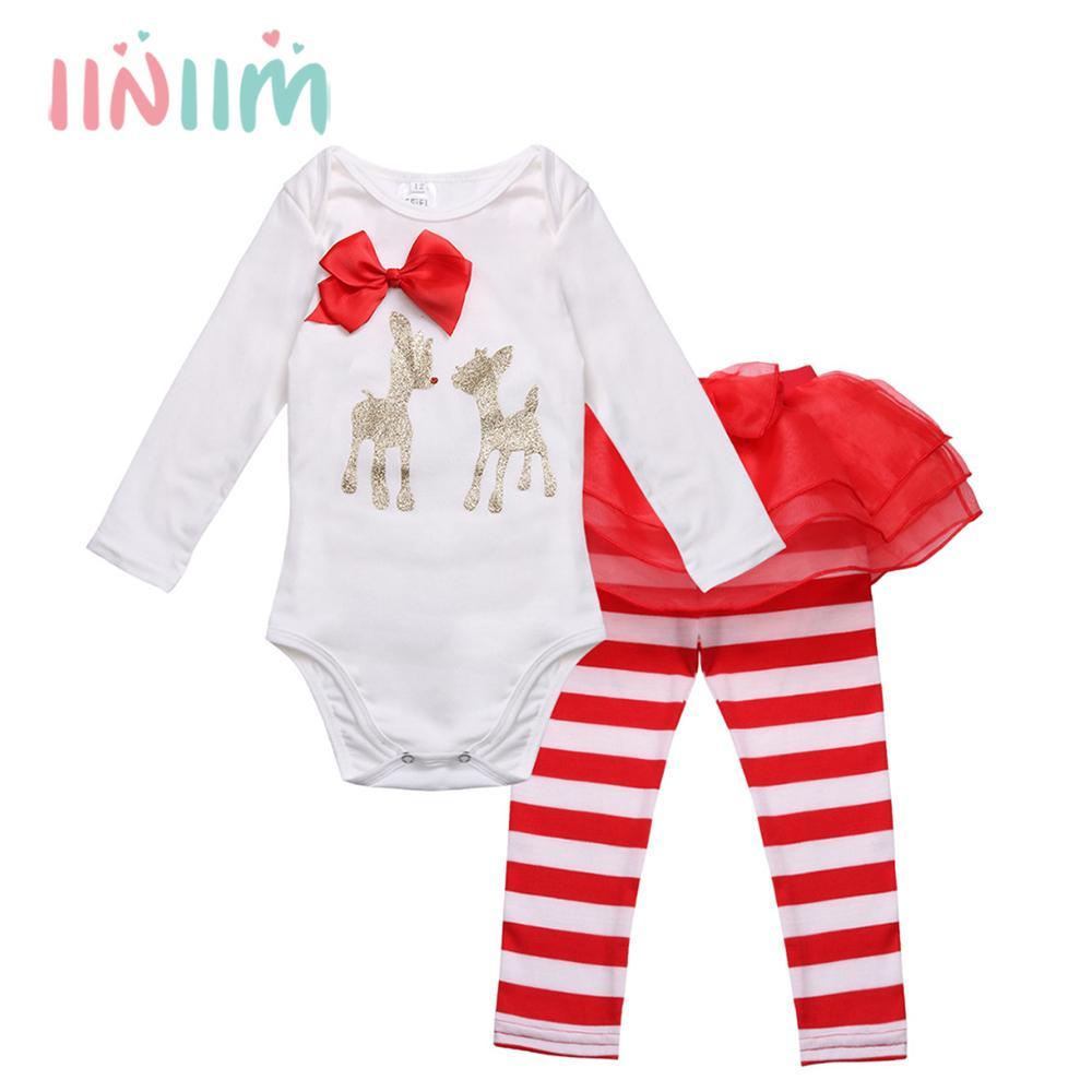 d3630cf8ead4 Acquista Vestiti Natalizi Invernali Neonato Infantil Neonate Pagliaccetto  Con Pantaloni A Righe I Miei Primi Abiti Da Costumi Di Natale Set Y18102907  A ...