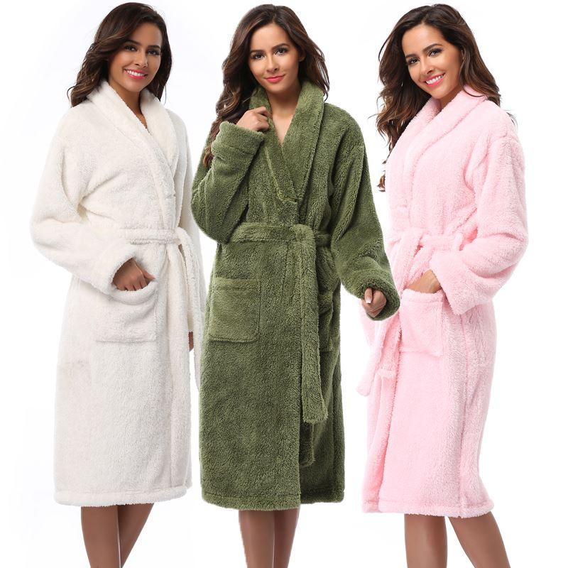 3ef37b644e 2019 Winter Warm Women Robes 2017 Coral Fleece Sleepwear Long Robe Woman  Hotel Spa Plush Bathrobe Solid Nightgown Kimono Pijama From Bichery