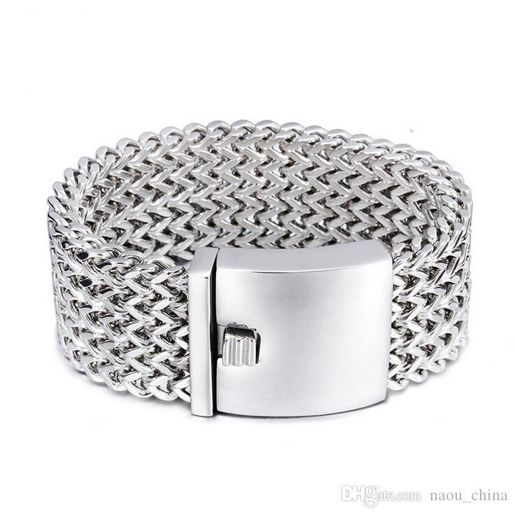 30mm Heavy Punk Biker Bracelet Hommes Bijoux Bijoux Cadeau Hommes Bracelets Bracelets Or Argent En Acier Inoxydable Multicouche Mesh Bracelet
