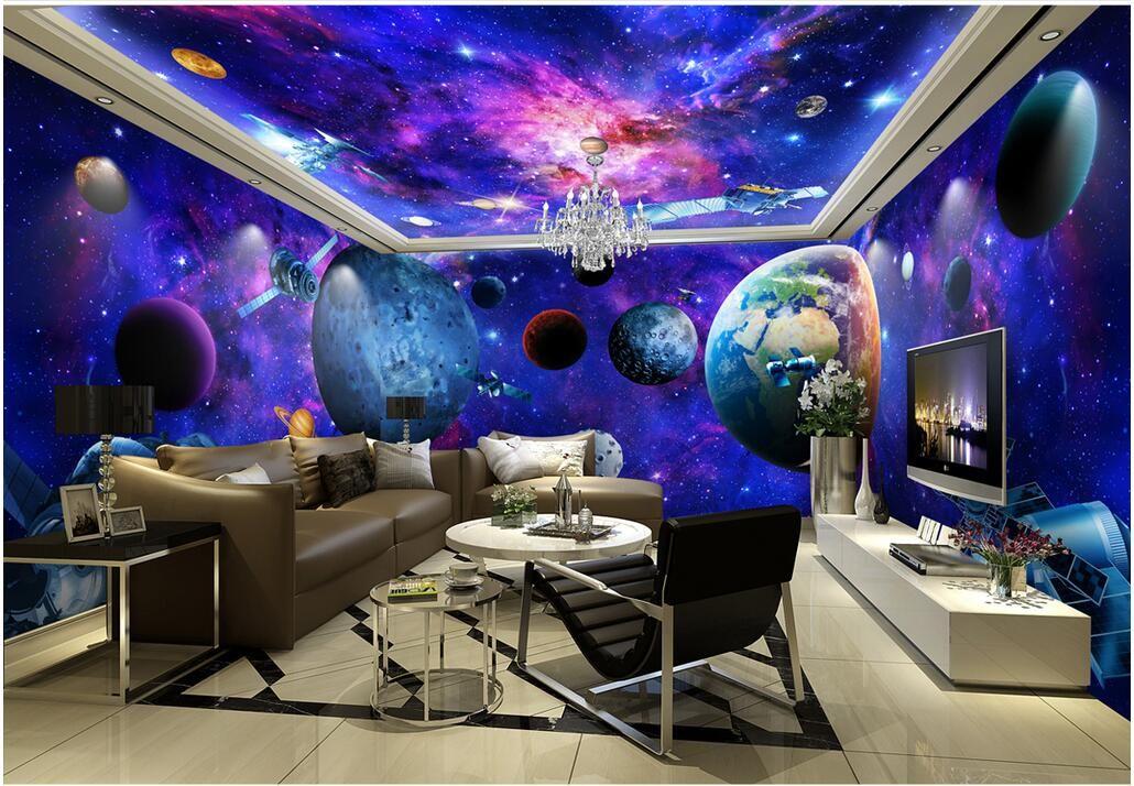 3d wallpaper cloth custom photo cosmic galaxy earth theme - Space wallpaper room ...