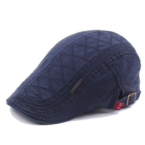 76a2c306058 Men Cotton Grid Embroidery Beret Newsboys Duckbill Cap Gorras Planas ...