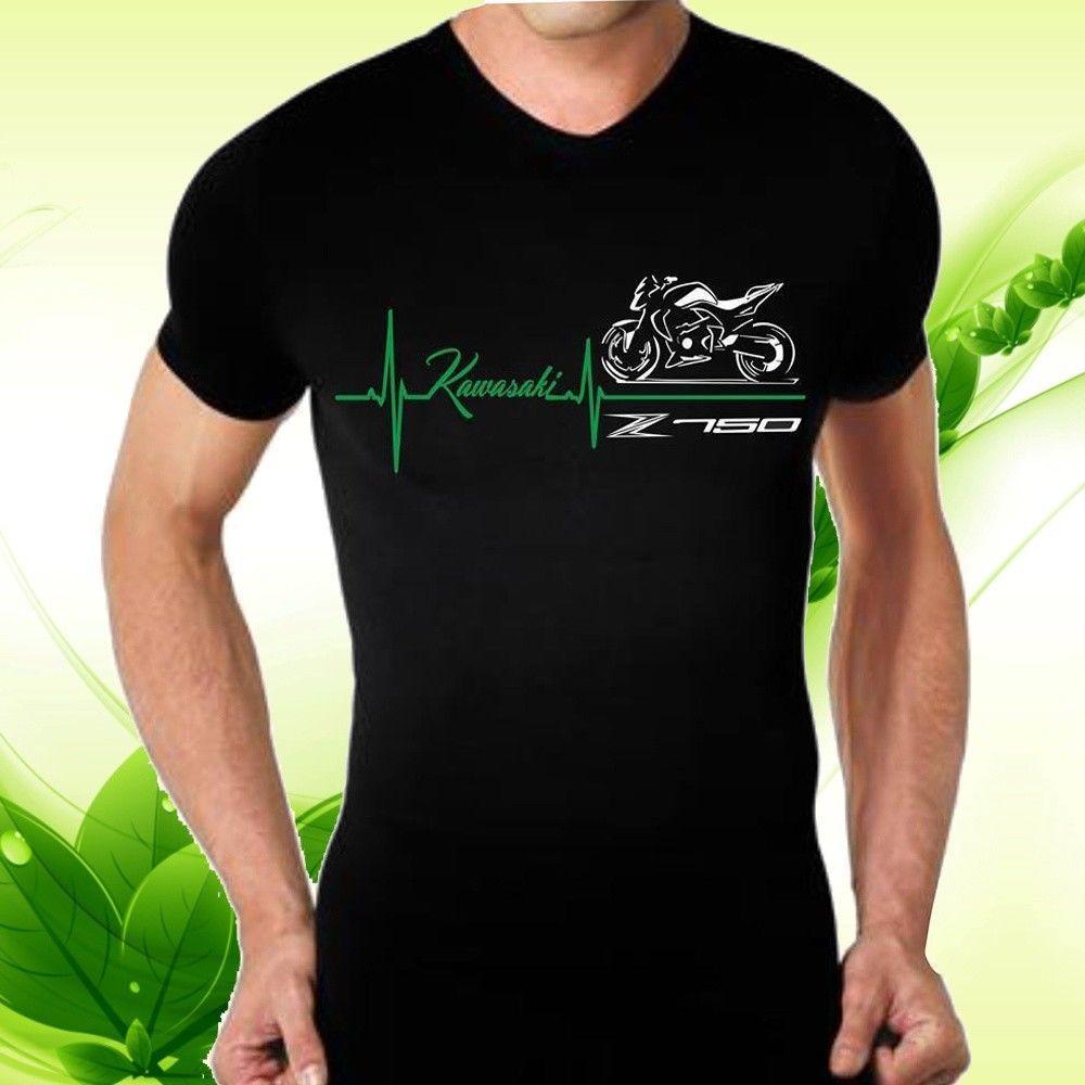 Mens Classic Kawasaki Z750 Moto Schwarze T Shirts