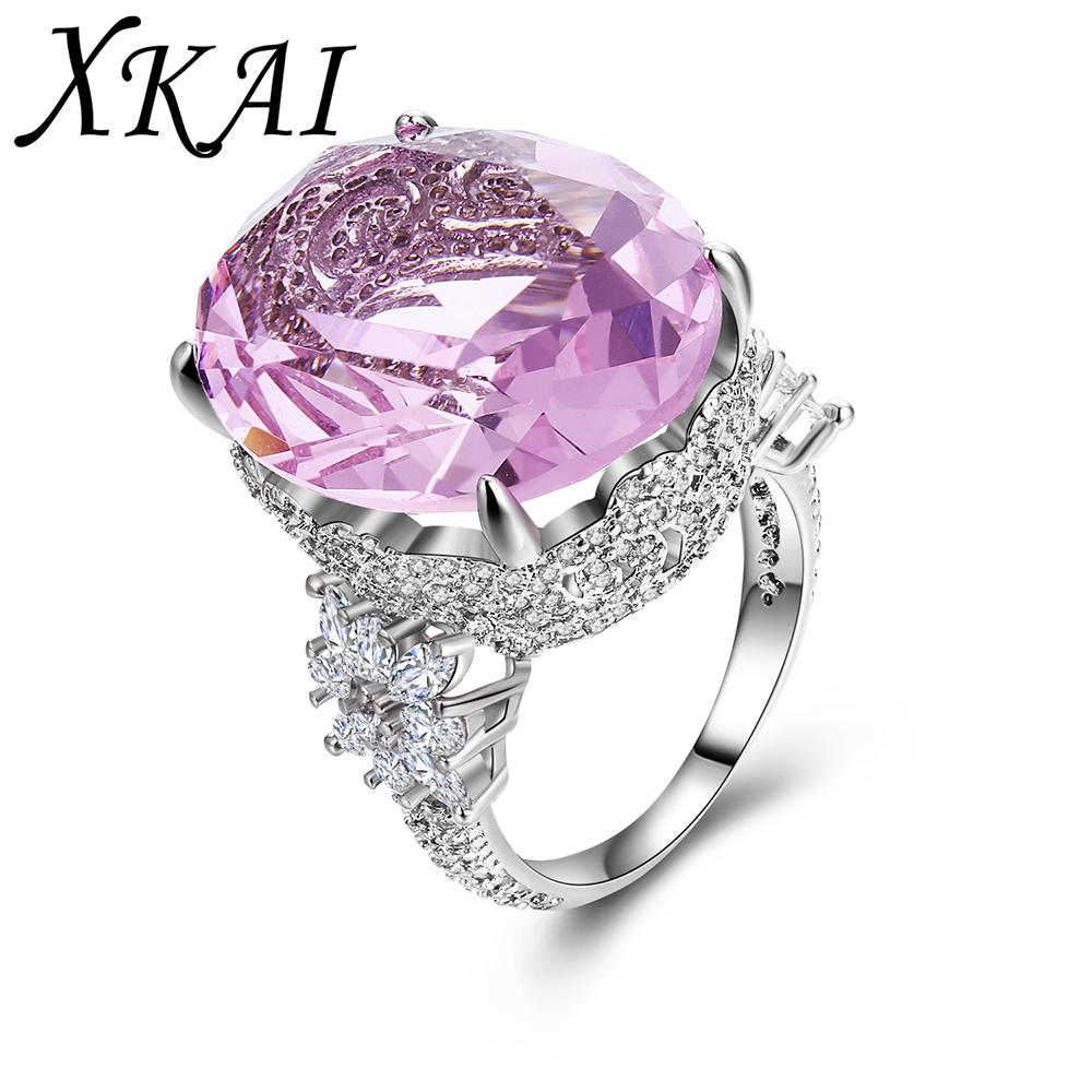 Discount Pink Stone White Wedding Rings For Women Engagement Vintage ...