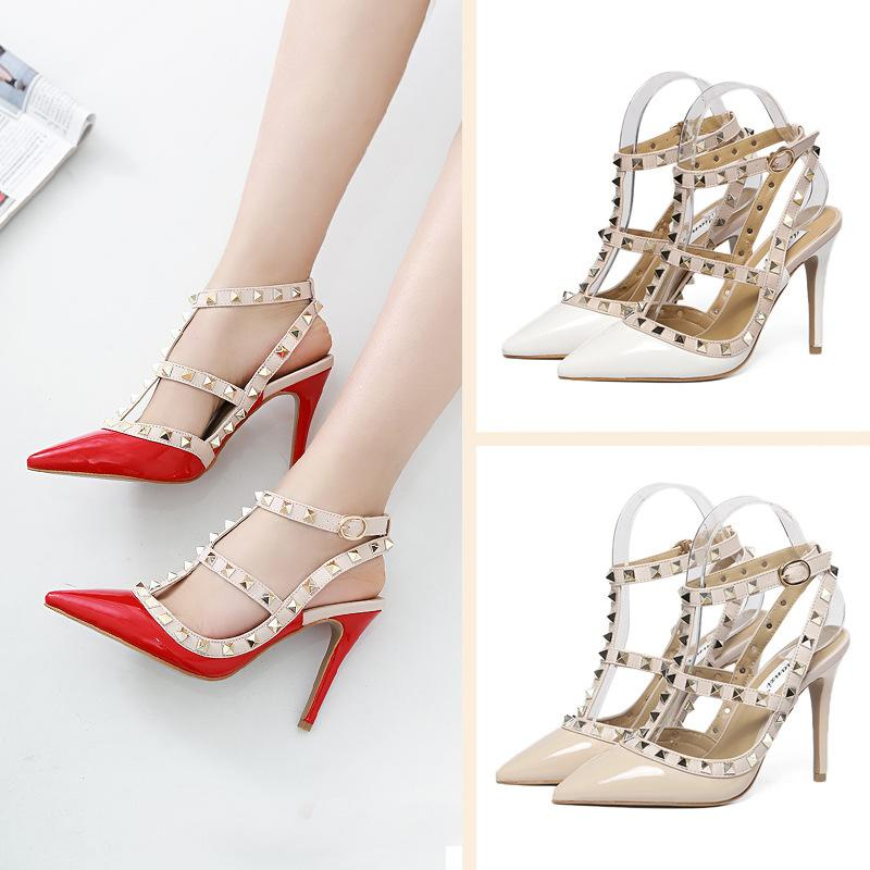 2018 Rel leather slippers dress shoes party fashion rivets girls sexy pointed toe shoes buckle platform pumps good prices countdown package erINNda