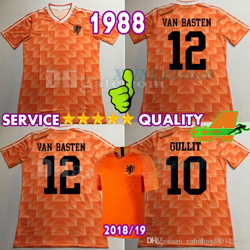 official photos dbf28 e368d 1988 Retro Version Orange Classic Vintage Netherlands home Soccer jersey  best quality Three Musketeers Gulitefan Basten Nederland football s