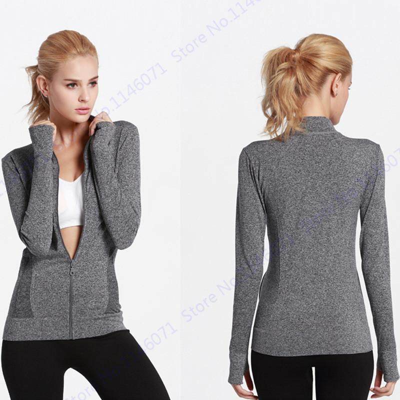 14cb02d87 2019 Moisture Wicking Long Sleeve Running Yoga Jacket Super Stretch Slim  Sports Fitness Coat With Two Side Pocket Women Zipper Hoodie From Shinny33,  ...