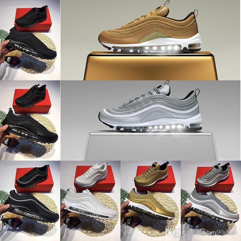 Cheap 2018 New Arrival Cushion 97 Running Shoes 97s OG Gold Silver Bullet  Triple White Black Men Women Trainer Casual Sports Sneakers Size 36-46 f02f4e27d