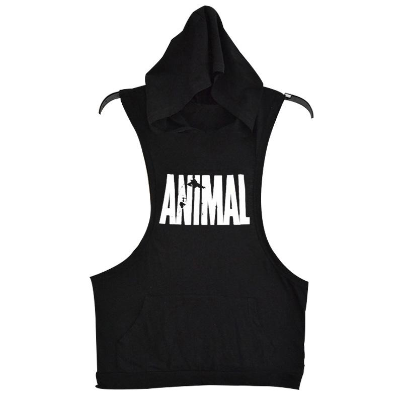 Men Cotton Hoodie Sweatshirts Fitness Clothes Bodybuilding Tank Top Men Sleeveless Tees Shirt Golds Stringer Vest H -15