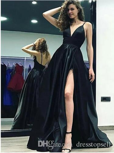 e6b5dfd4a7f Simple A Line V Neck Sexy Prom Dress Satin Backless Special Occasion Dresses  High Split Slit Black Evening Gowns Short Prom Dress White Formal Dresses  From ...