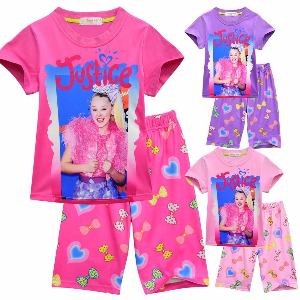eedeaeb85 Summer Jojo Siwa Baby Pajamas For Girls Shorts T Shirts + Pant Sport Suits  Kids Clothes Toddler Sleepwear Pyjamas Set ZT1024 Cool Pjs For Kids Kids  Matching ...