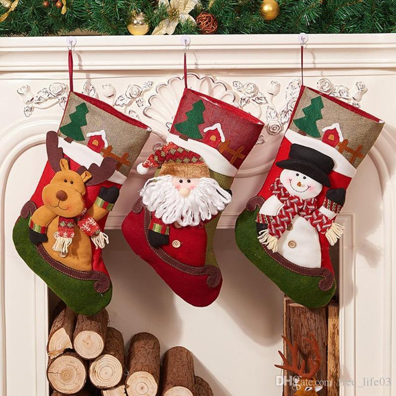 35cm big christmas stocking sock gift candy bag xmas tree hanging ornaments christmas decoration for home 2018 house christmas decoration house christmas - Big Christmas Ornaments
