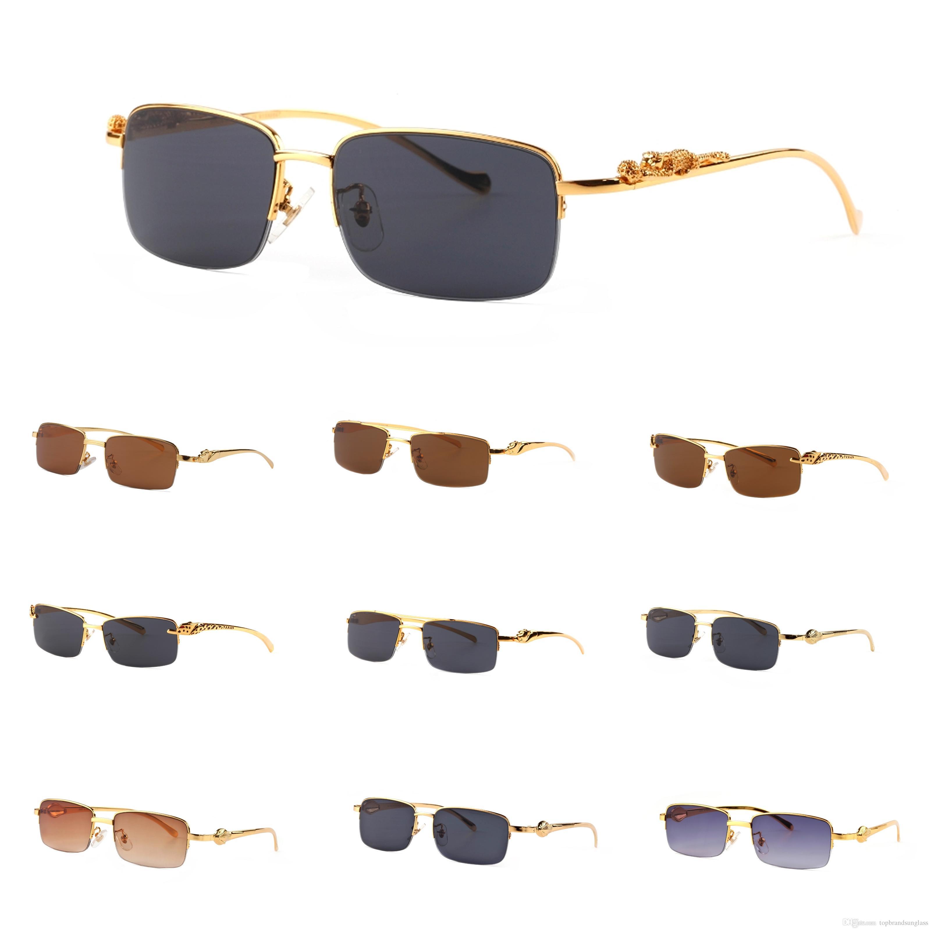 Anti Hot Glasses Divine Wholesale Half Uv400 With New Design Brand Metal Box Grade Sunglasses France Sun Panthere Gold Uv Frame Fashion 2018 TcF13JlK