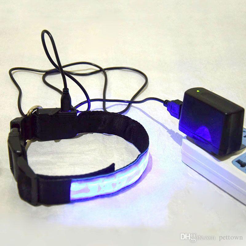A13 USB Wiederaufladbare Haustier LED Kragen Haustier Hund Nylon Licht Kragen / W Knochen Fußabdrücke Design Kostenloser Versand