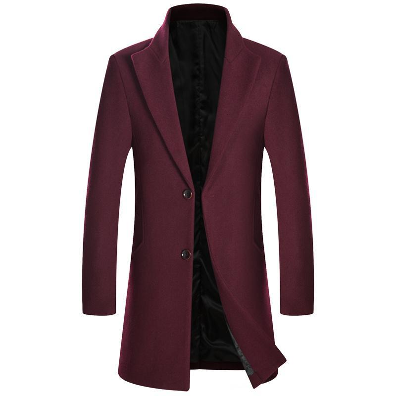 95032d62b27 2018 Winter Long Men Single Breasted Wool Overcoat Mens Slim Thick ...