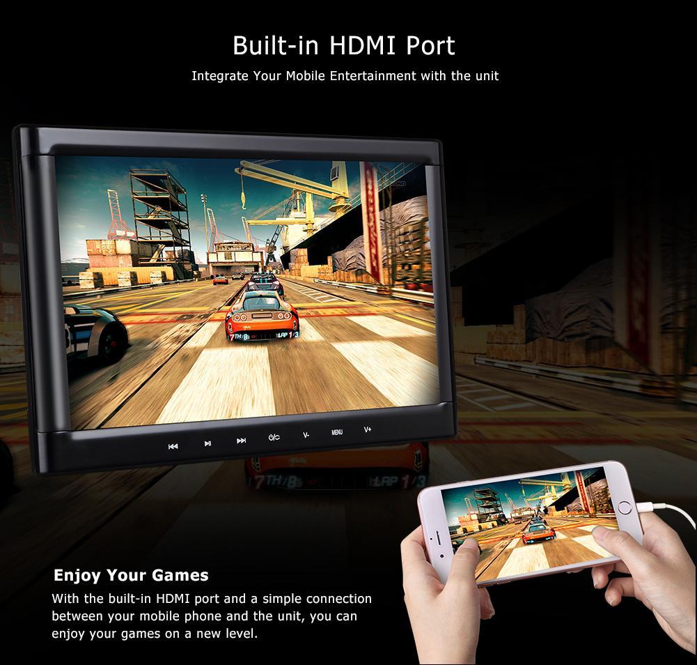 2x10.1 pouce voiture dvd appui-tête portable montage pour voiture lecteur HD Hdmi USB SD FM IR support de voiture appui-tête noir