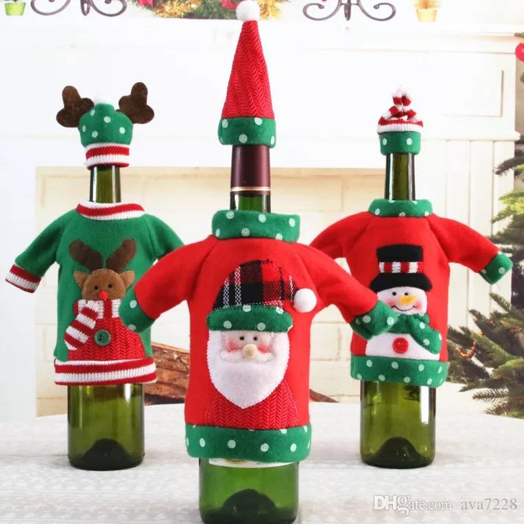 red wine bottle cover new years products christmas party decoration supplies 2018 gifts new year decor for home wine bottles decoration kitchen decoration