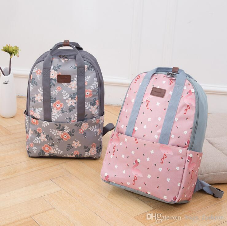 Wilicosh Women Backpack For Teenage Girls School Backpack Bag Flamingos  Printing Canvas Children Schoolbag Mochila Escolar Womens Bags Lunch Bags  For Kids ... a7589445ab0c3