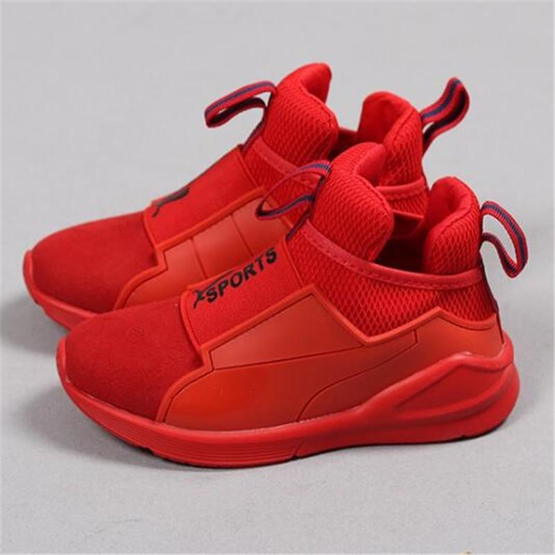 Rojo Buena Para Deporte Cuero Zapatillas De Cómodos Zapatos Niñas Deportivos Color Calidad Niños Casuales L345RjA