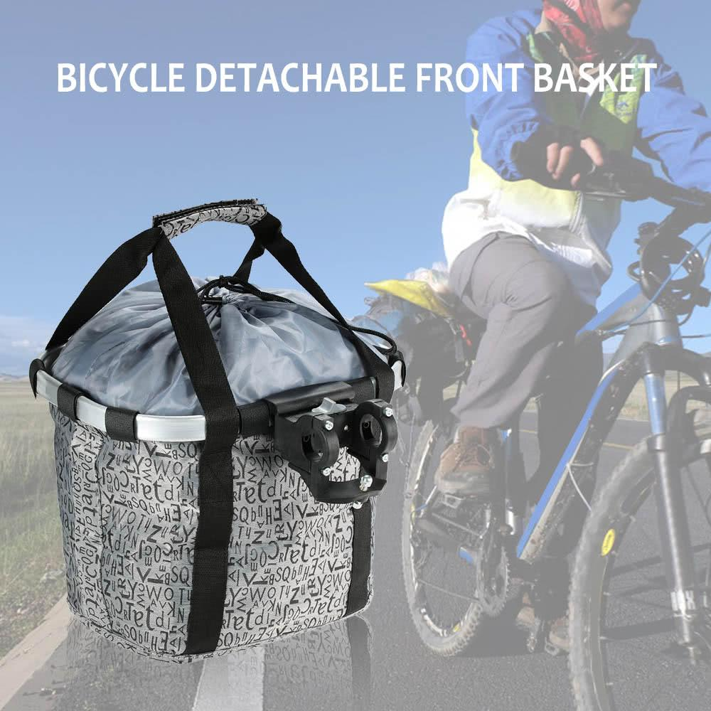 Y2990GY Bicycle Bike Detachable Cycle Front Canvas Basket Carrier Bag Pet Carrier Aluminum Alloy Frame Lienzo cesto para ciclismo