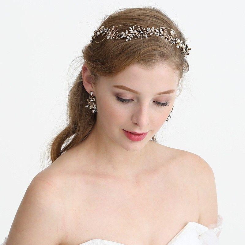 Antique Gold Wedding Floral Tiara Bridal Headband Hair Accessories