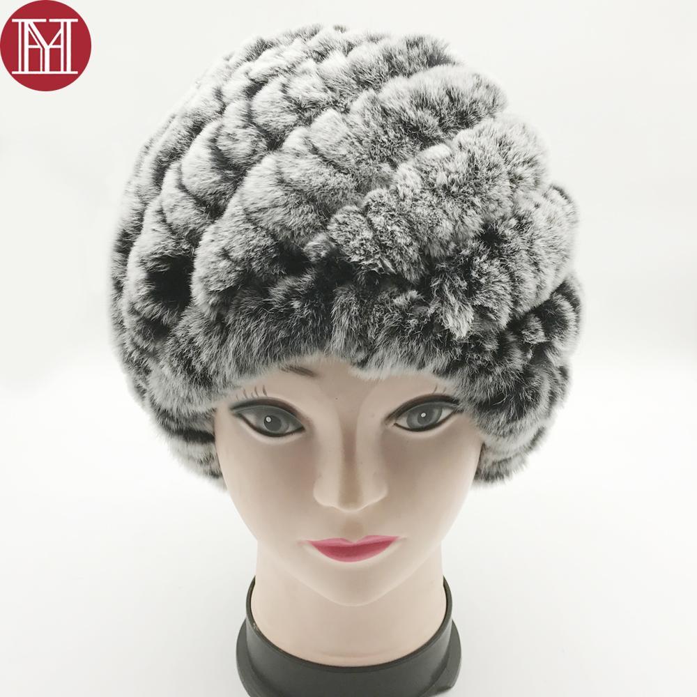Compre 2018 Mujeres Rusia Venta Caliente 100% Real Rex Conejo Gorro De Piel  De Invierno De Punto Real Rex Rabbit Sombrero De Piel Gorritas Envío Gratis  A ... 5627ebd006a