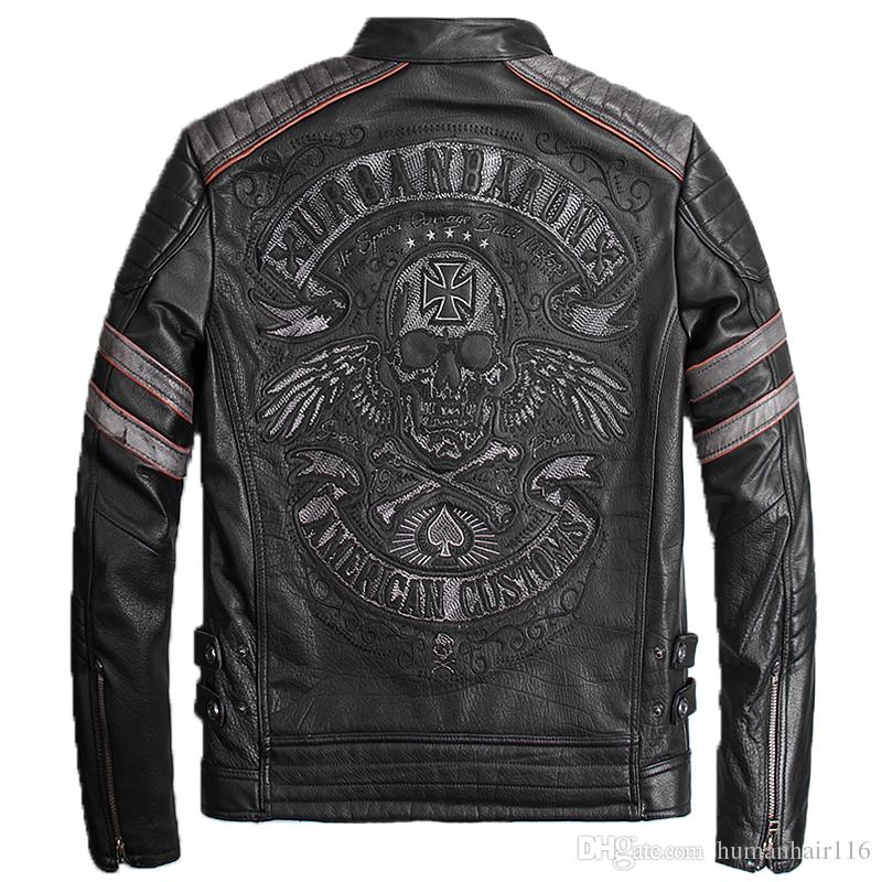 ad2d803893d 2019 2018 Vintage Black Genuine Leather Mens Jacket Skull Embroidery  Pattern Plus Size XXXL Genuine Cowhide Biker Coat From Humanhair116