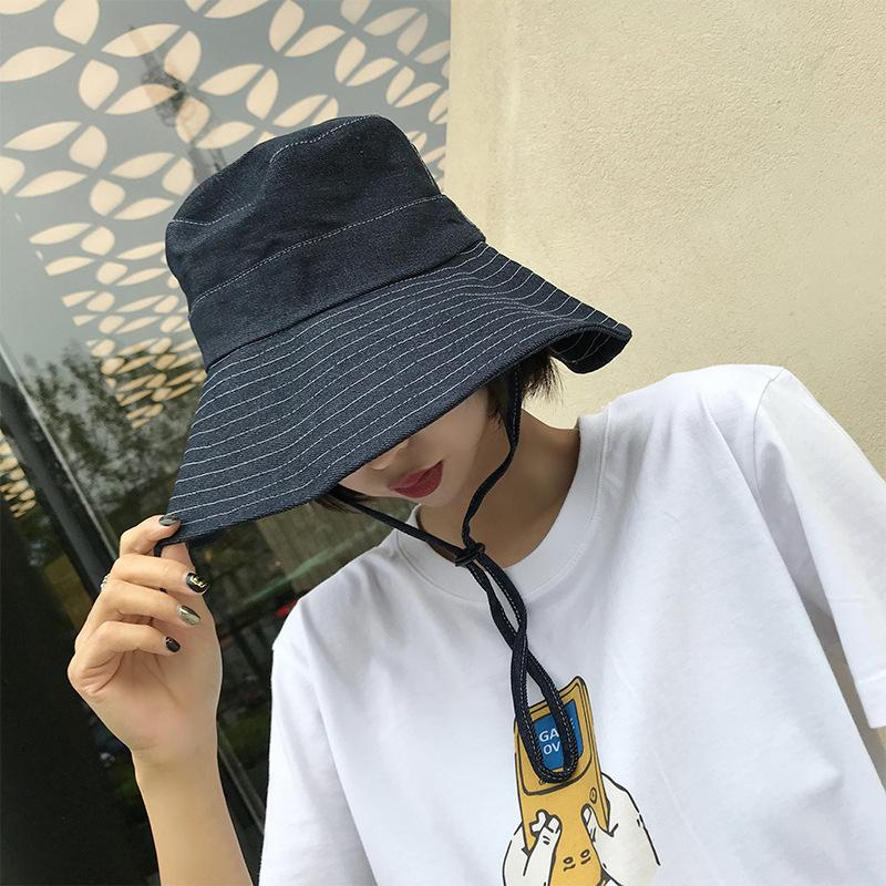 e3b15e161cd 2019 HT1766 Vintage Retro Bucket Hats Cotton Denim Panama Fishing Hats Men  Women Wide Brim Sun Hats Flat Top Packable Fisherman Caps D18110601 From  Shen8409 ...