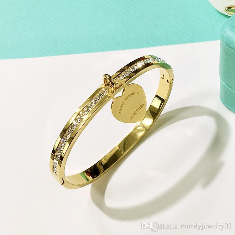 I nuovi braccialetti del cuore di marca dell'acciaio inossidabile di modo della doppia T di marca 2018 le donne con il braccialetto di amore del diamante della cz New York fine Jewelry