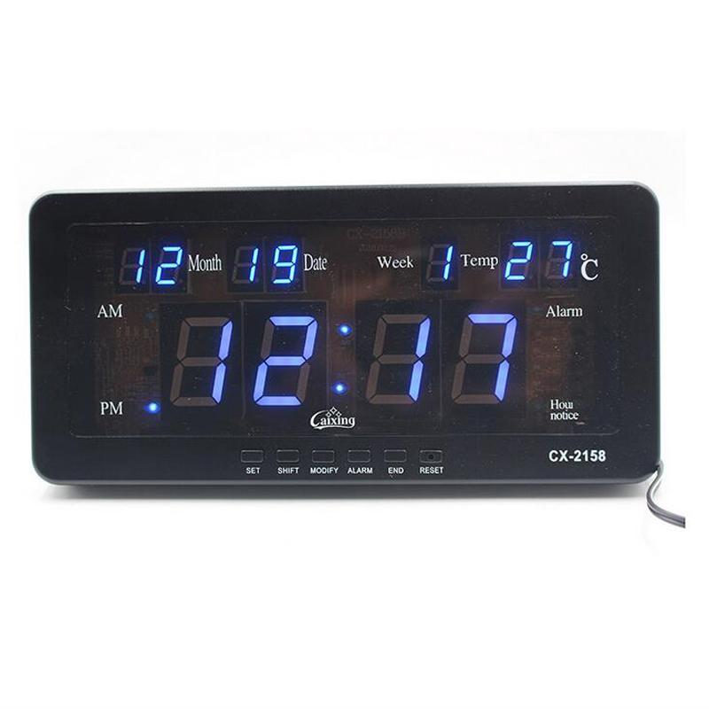Digital Calendar.Electronic Led Digital Calendar Alarm Clock With Temperature Date And Week Desk Or Wall Mount For Living Room Study Shelf
