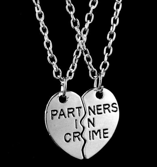 DHL Heart Letter Partners in Crime Necklace Friendship Gift Sliver Chain  Necklace for Best Friend Pendant Necklaces