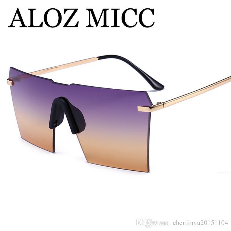 7dec6deb5 Acquista ALOZ MICC Occhiali Da Sole Senza Montatura Donna 2018 Designer Di  Marca Moda Con Gradiente Quadrato Occhiali Da Sole Occhiali Da Vista  Femminili ...