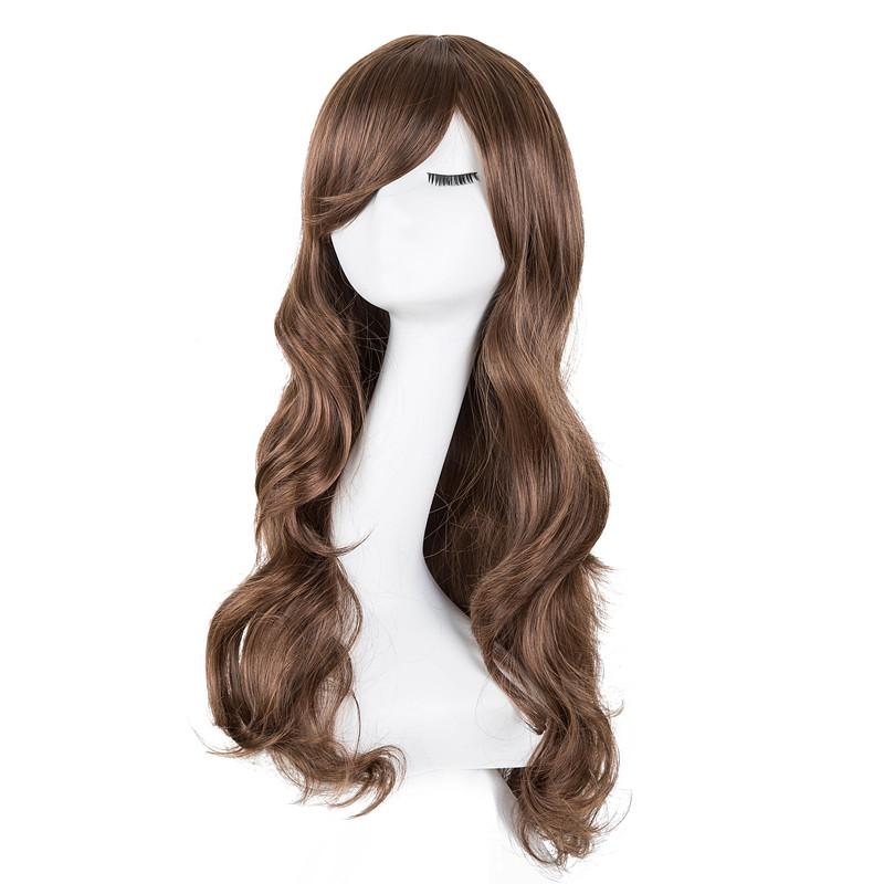Hair Extensions & Wigs Curly Wigs Fei-show Synthetic Heat Resistant Fiber Long Light Brown Hair Salon Inclined Bangs Hairpiece Costume Cos-play Hairset Synthetic None-lacewigs