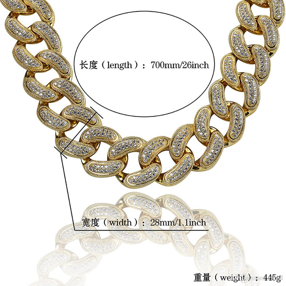 Hip Hop Jwelry 28mm 14K Gold Plated Full Iced Out CZ Big Dog Miami Cuban Chain Link Necklace for Men