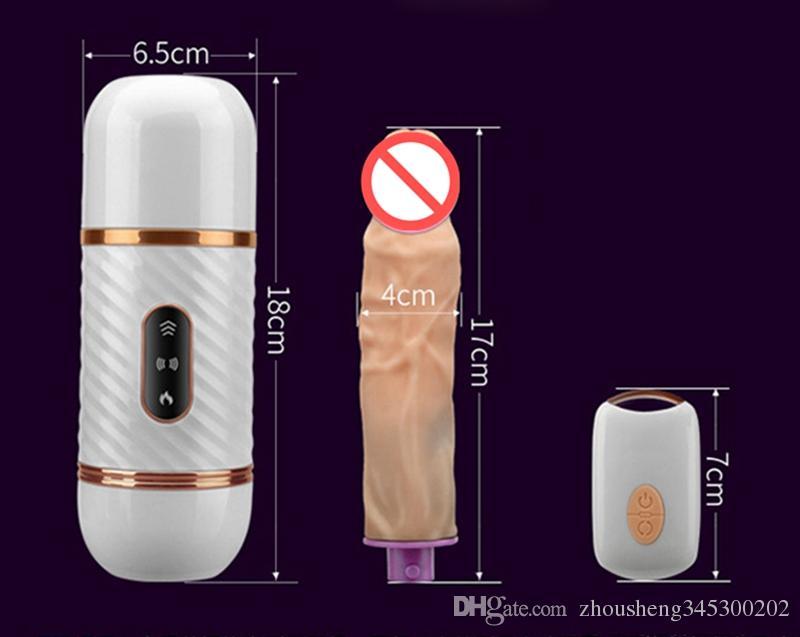 Massaggiatore a macchina del vibratore a macchina del sesso del silicone del dildo telecomandato caldo il riscaldamento telescopico automatico delle donne i giocattoli del sesso della masturbazione femminile
